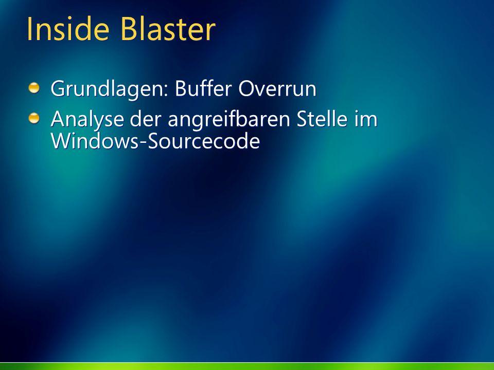 Inside Blaster Grundlagen: Buffer Overrun