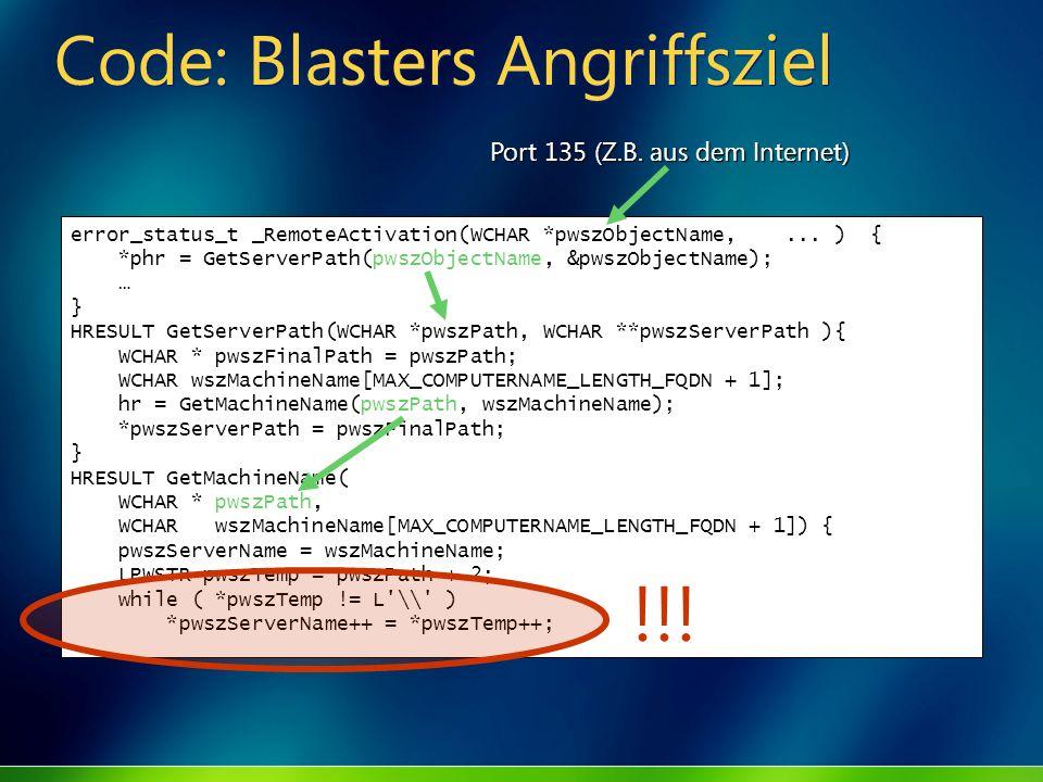 Code: Blasters Angriffsziel