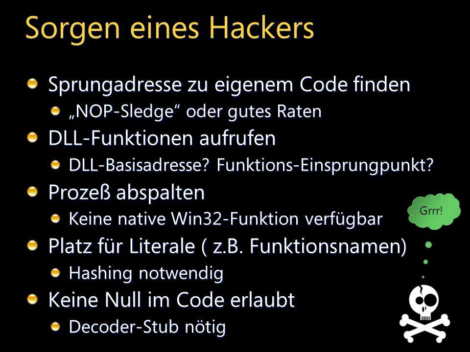 Sorgen eines Hackers Sprungadresse zu eigenem Code finden