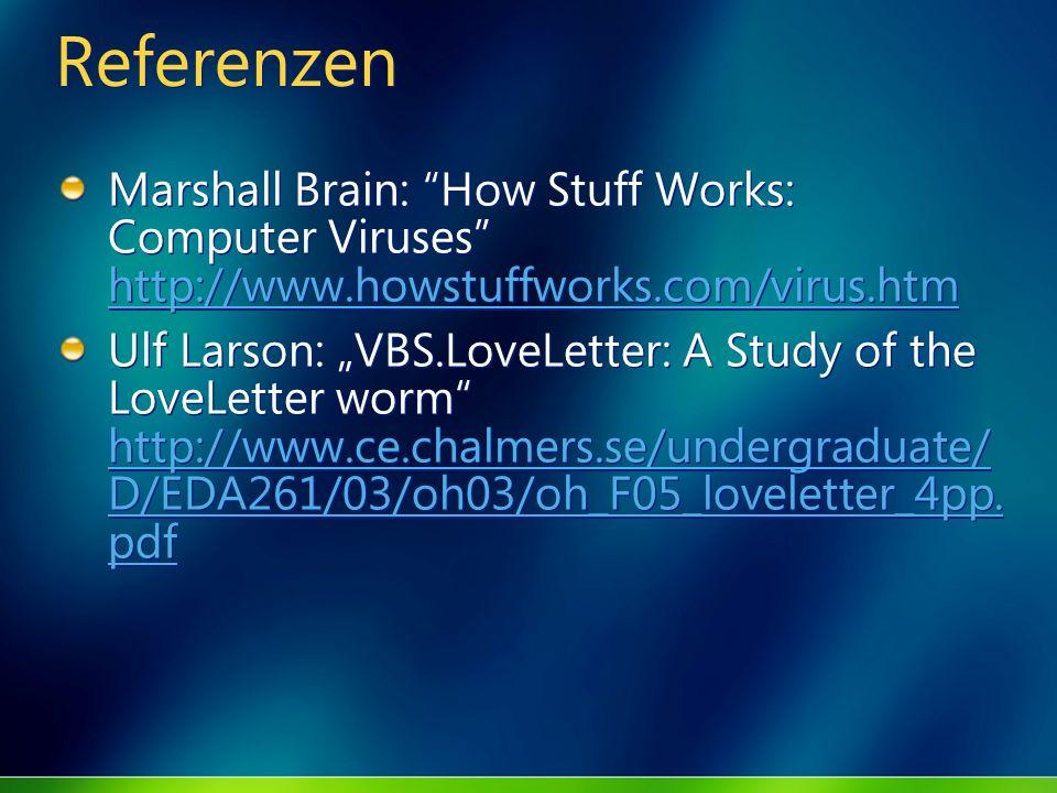 ReferenzenMarshall Brain: How Stuff Works: Computer Viruses http://www.howstuffworks.com/virus.htm.