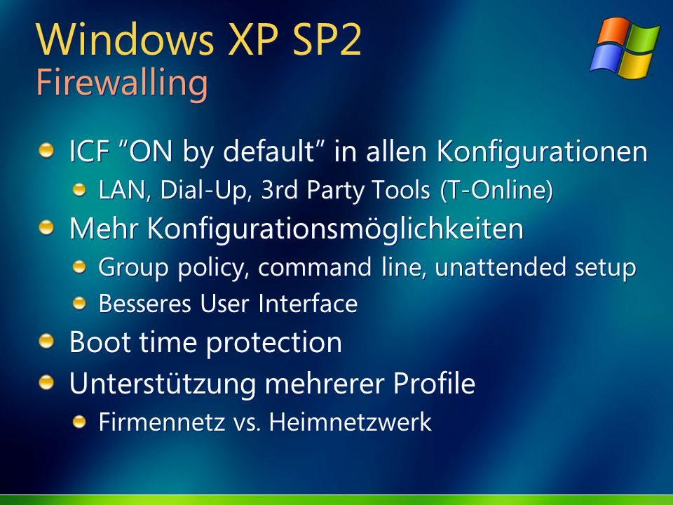 Windows XP SP2 Firewalling
