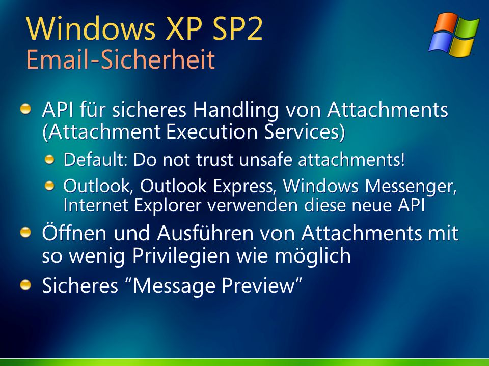 Windows XP SP2 Email-Sicherheit