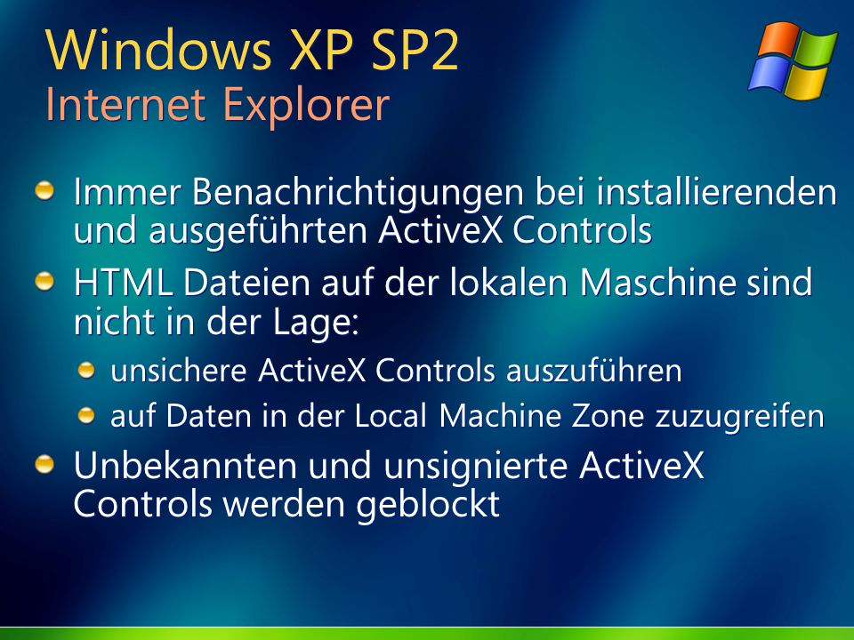 Windows XP SP2 Internet Explorer