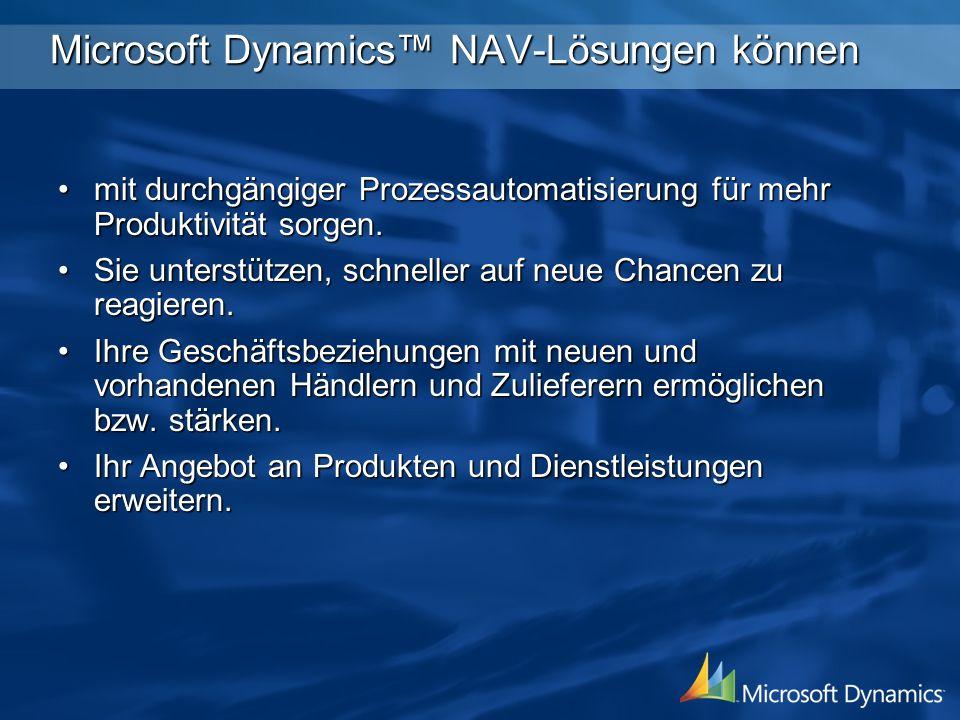 Microsoft Dynamics™ NAV-Lösungen können