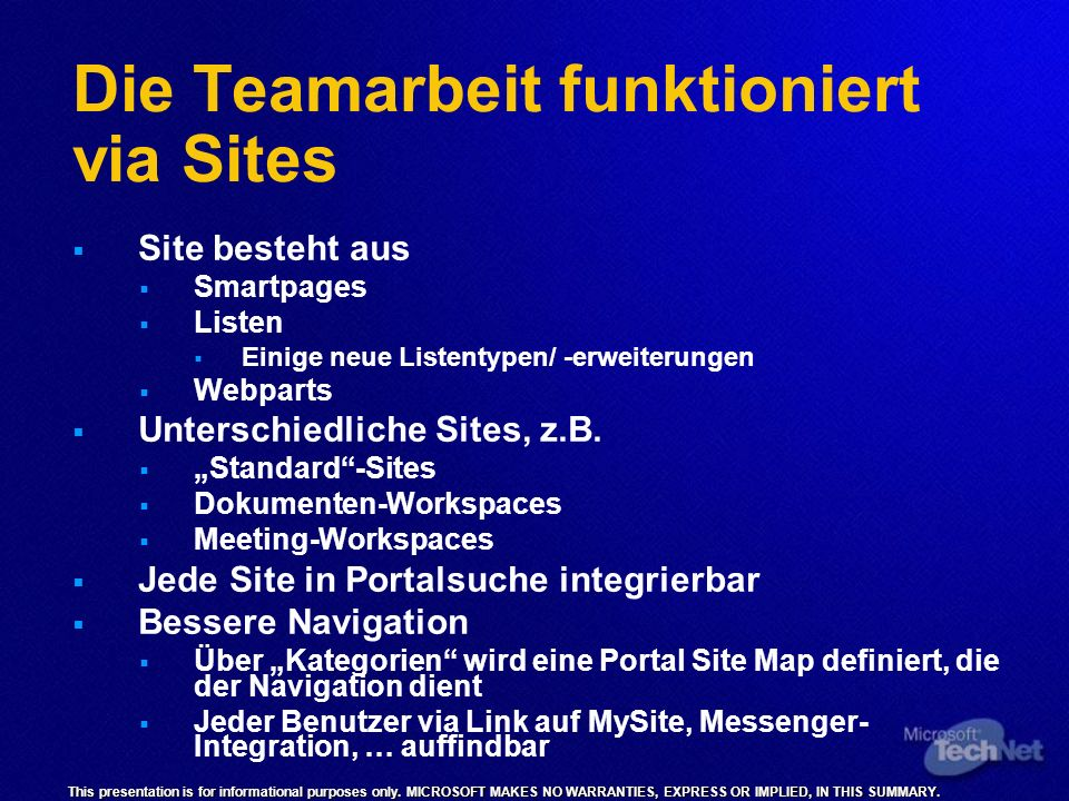 Die Teamarbeit funktioniert via Sites