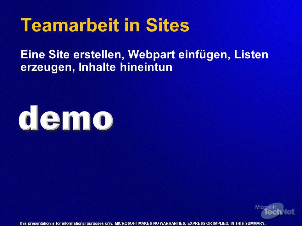 Teamarbeit in Sites Eine Site erstellen, Webpart einfügen, Listen erzeugen, Inhalte hineintun