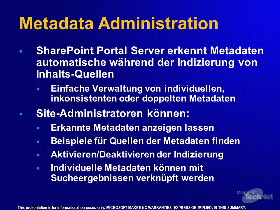 Metadata Administration