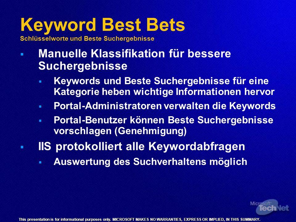 Keyword Best Bets Schlüsselworte und Beste Suchergebnisse