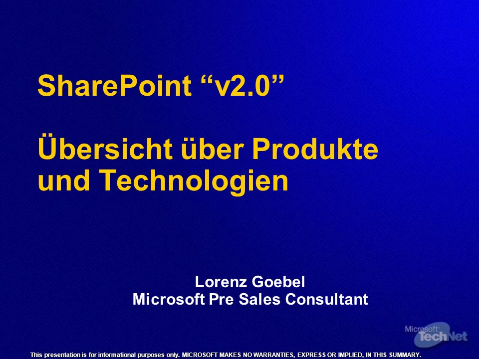 SharePoint v2.0 Übersicht über Produkte und Technologien