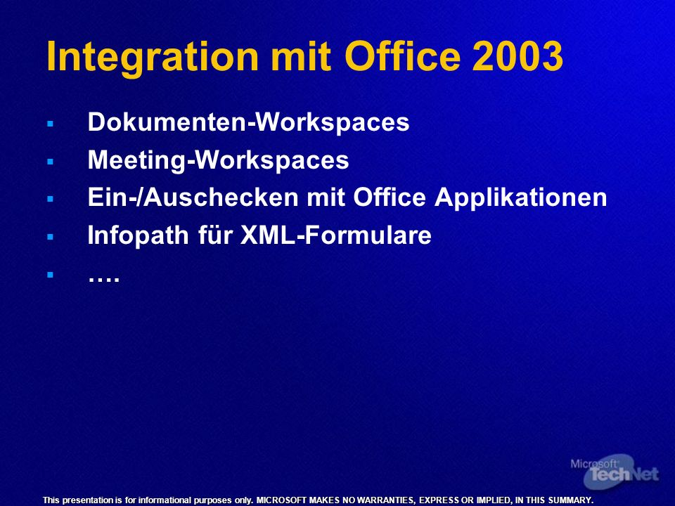 Integration mit Office 2003