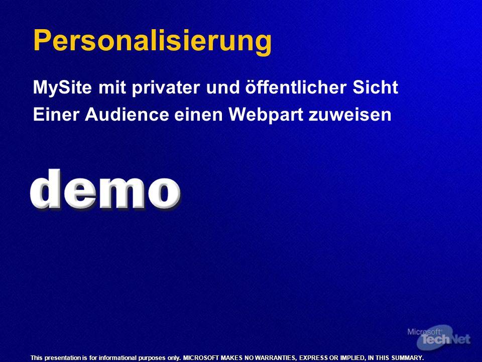 Personalisierung MySite mit privater und öffentlicher Sicht