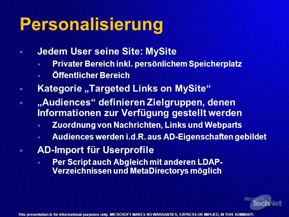 Personalisierung Jedem User seine Site: MySite