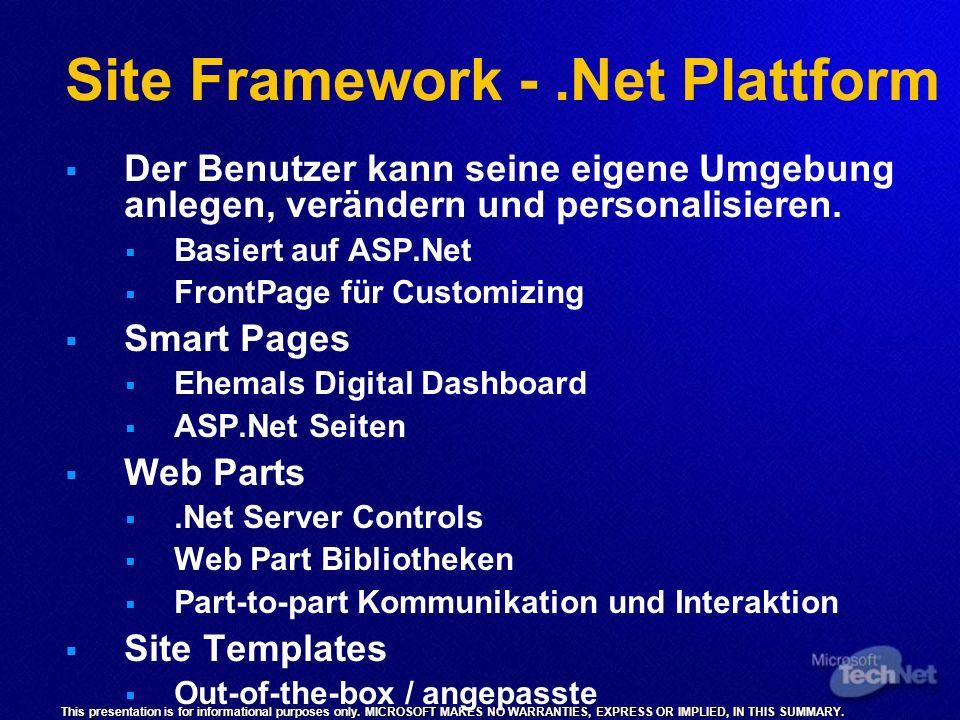 Site Framework - .Net Plattform