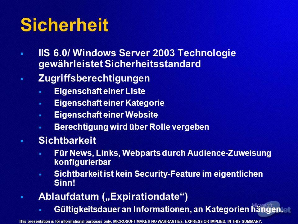 SicherheitIIS 6.0/ Windows Server 2003 Technologie gewährleistet Sicherheitsstandard. Zugriffsberechtigungen.