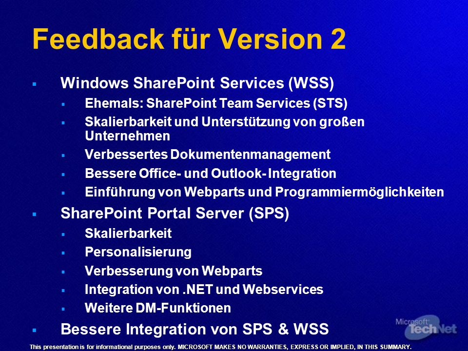 Feedback für Version 2 Windows SharePoint Services (WSS)