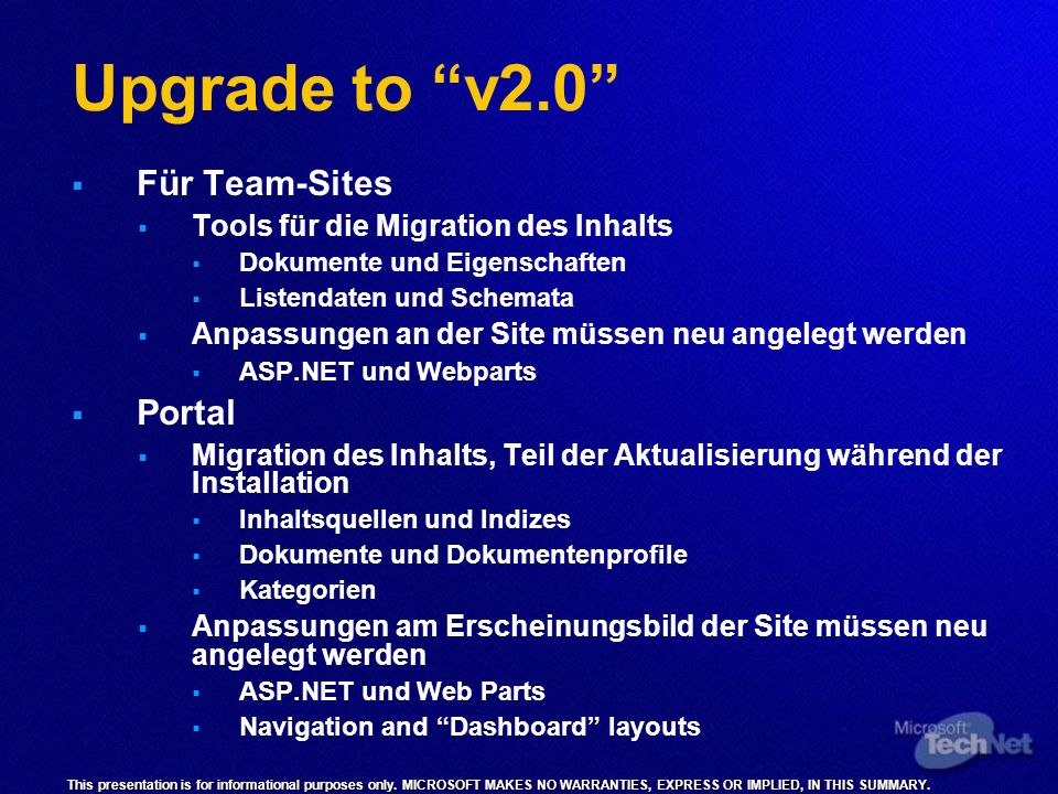 Upgrade to v2.0 Für Team-Sites Portal