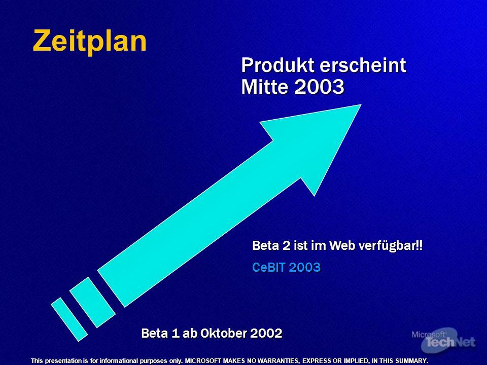 Zeitplan Produkt erscheint Mitte 2003 Beta 2 ist im Web verfügbar!!