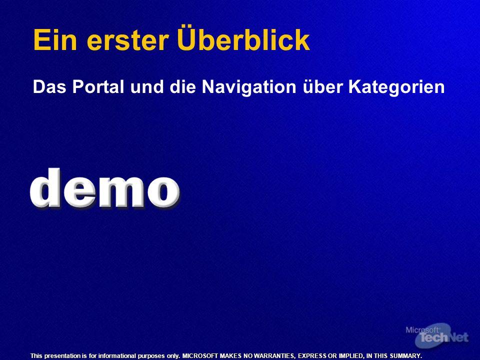 Ein erster Überblick Das Portal und die Navigation über Kategorien