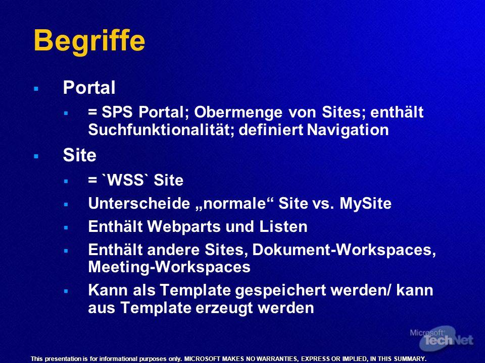 BegriffePortal. = SPS Portal; Obermenge von Sites; enthält Suchfunktionalität; definiert Navigation.
