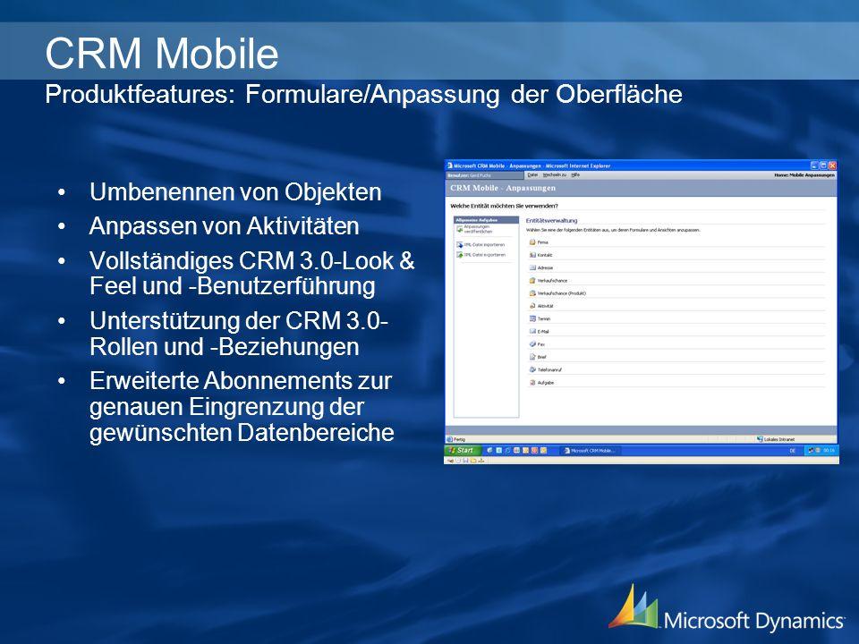 CRM Mobile Produktfeatures: Formulare/Anpassung der Oberfläche