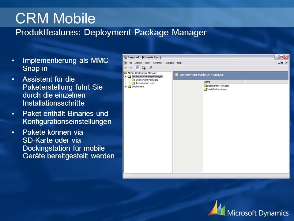 CRM Mobile Produktfeatures: Deployment Package Manager