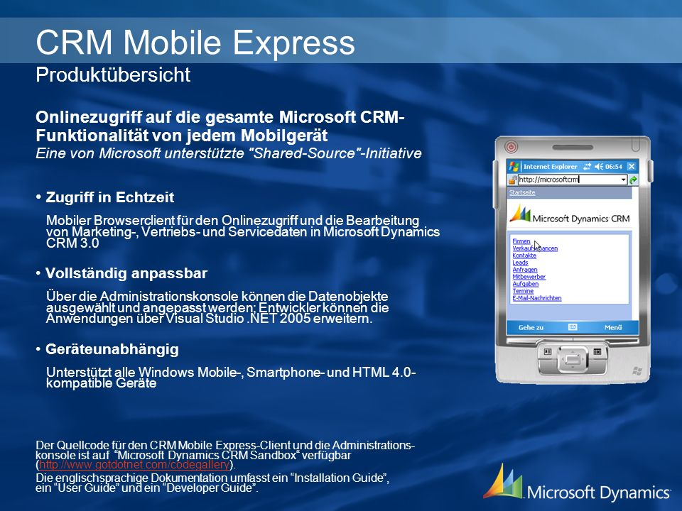 CRM Mobile Express Produktübersicht