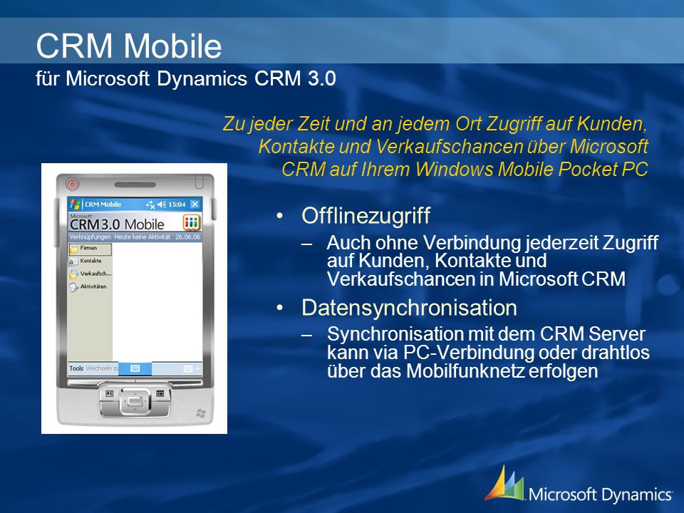 CRM Mobile für Microsoft Dynamics CRM 3.0