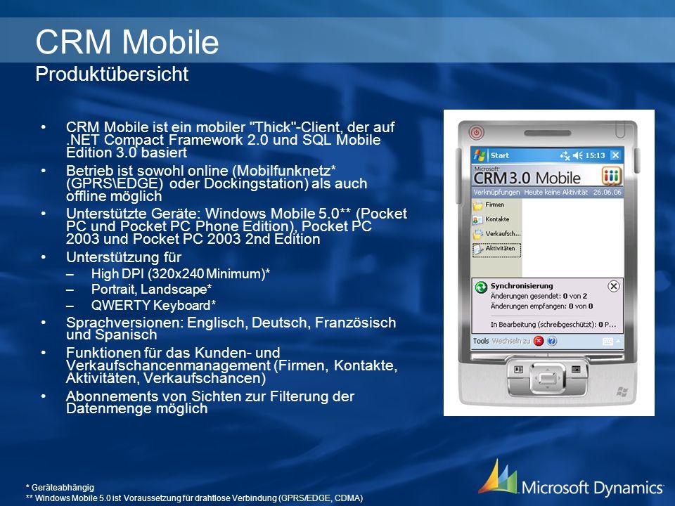 CRM Mobile Produktübersicht
