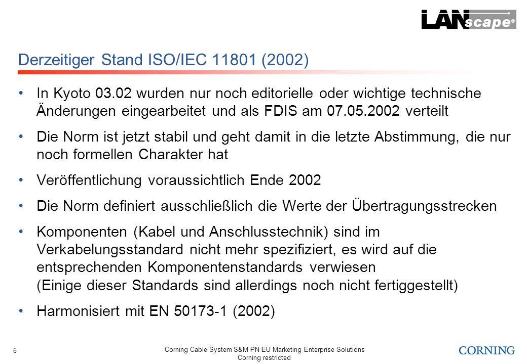 Derzeitiger Stand ISO/IEC 11801 (2002)