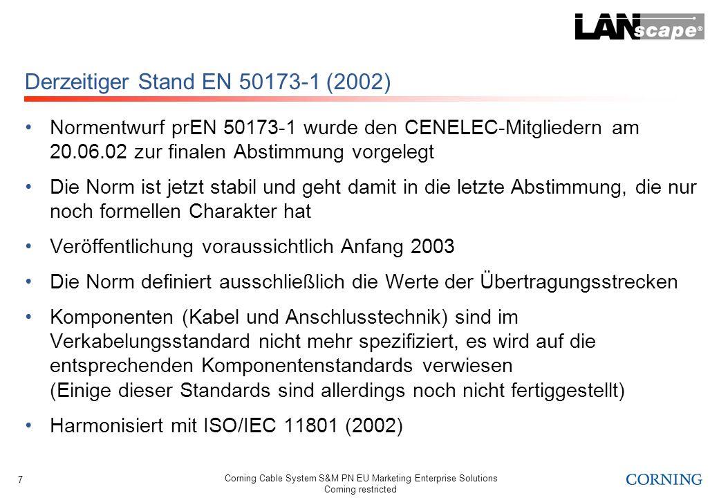Derzeitiger Stand EN 50173-1 (2002)
