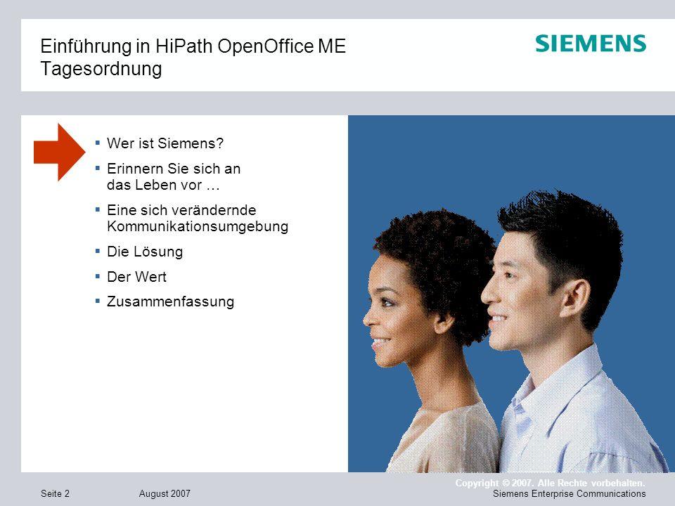 Einführung in HiPath OpenOffice ME Tagesordnung