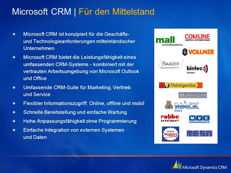 Microsoft CRM | Für den Mittelstand