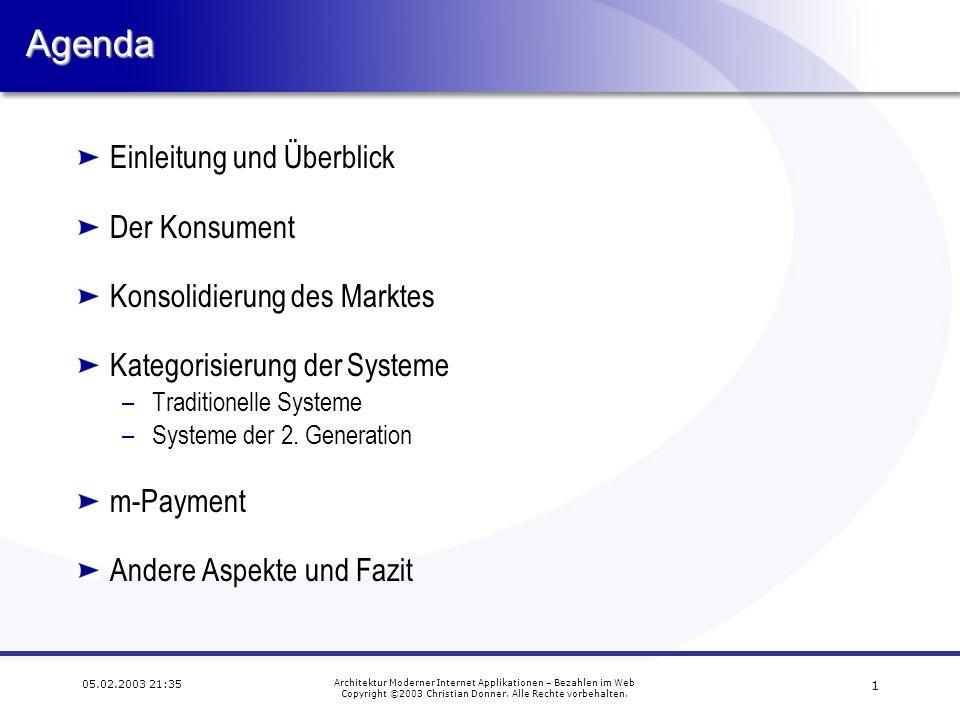 Agenda Einleitung und Überblick Der Konsument