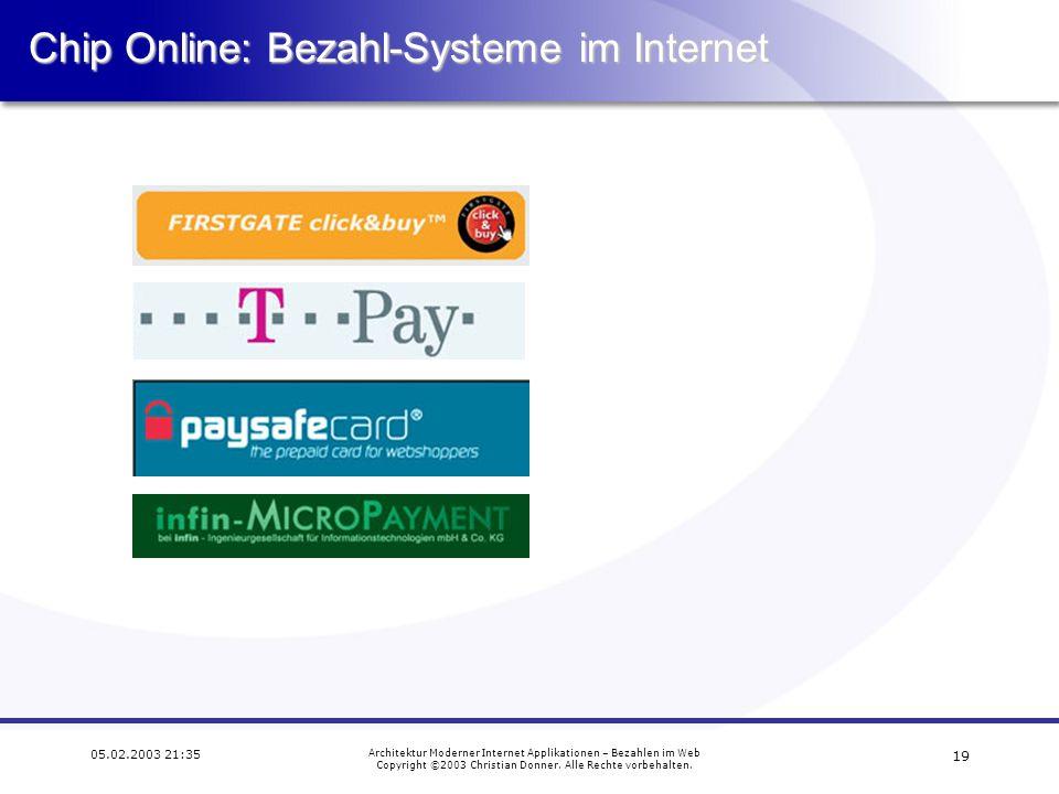 Chip Online: Bezahl-Systeme im Internet