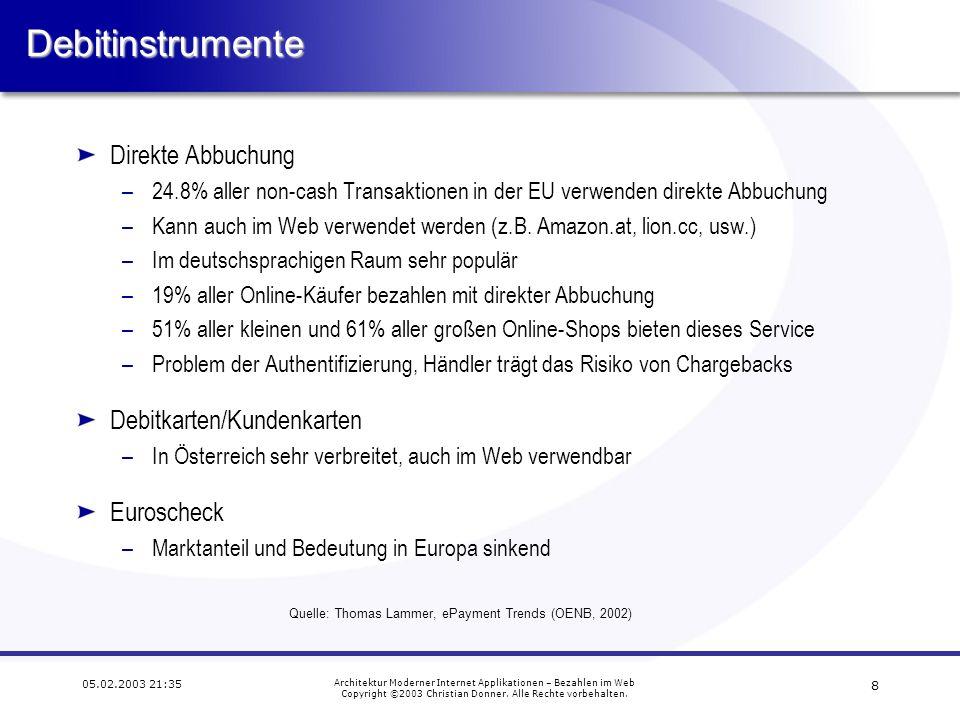Debitinstrumente Direkte Abbuchung Debitkarten/Kundenkarten Euroscheck