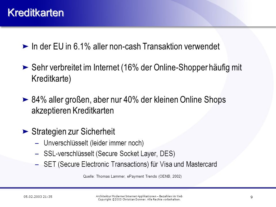 Kreditkarten In der EU in 6.1% aller non-cash Transaktion verwendet