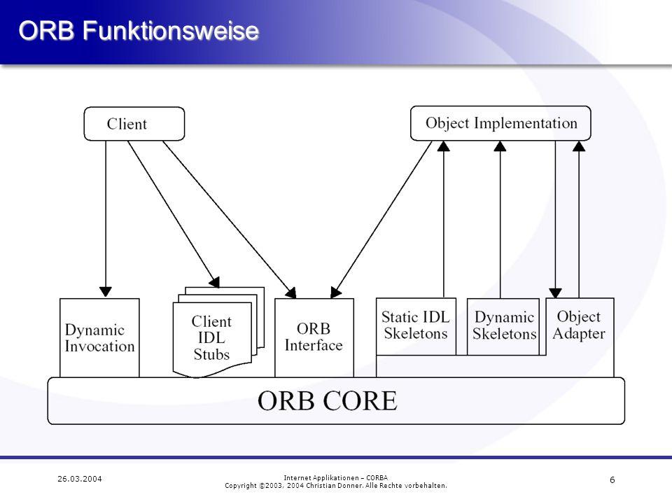 ORB Funktionsweise 26.03.2004 Internet Applikationen – CORBA