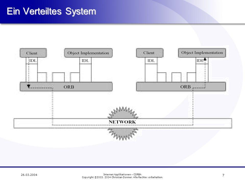 Ein Verteiltes System 26.03.2004 Internet Applikationen – CORBA