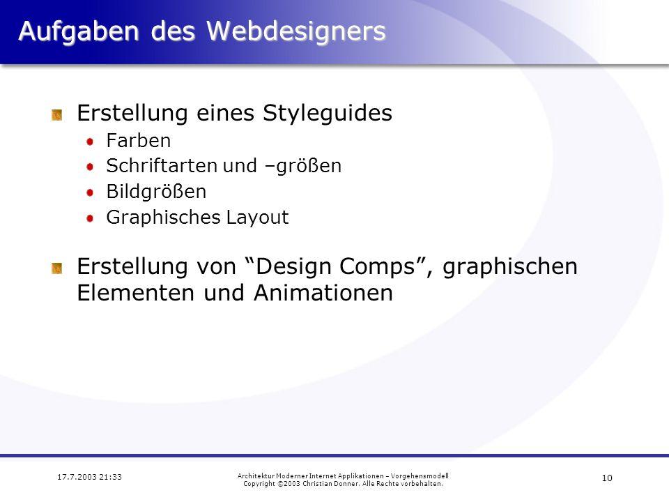Aufgaben des Webdesigners