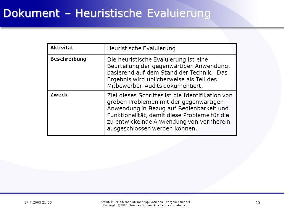 Dokument – Heuristische Evaluierung