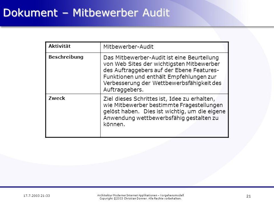 Dokument – Mitbewerber Audit