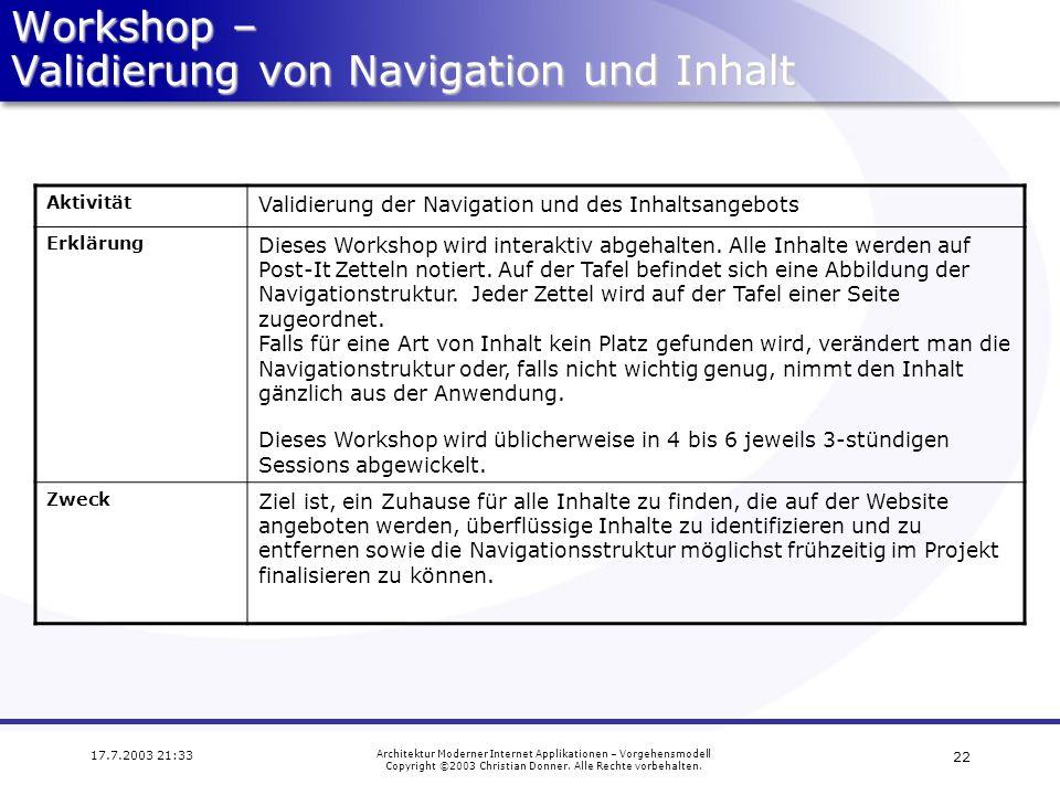 Workshop – Validierung von Navigation und Inhalt