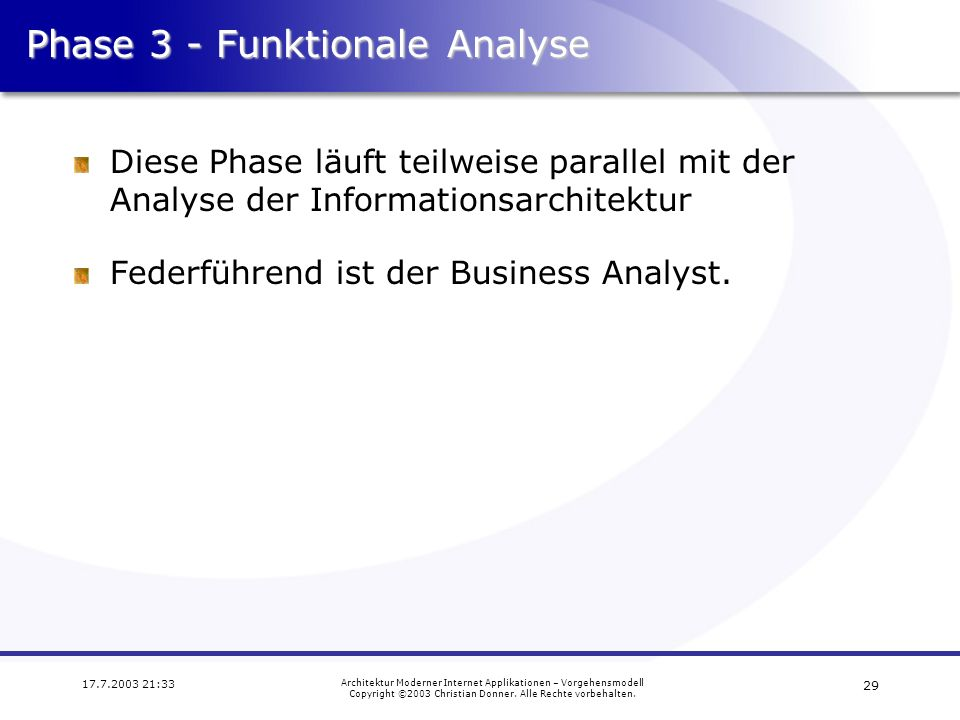 Phase 3 - Funktionale Analyse