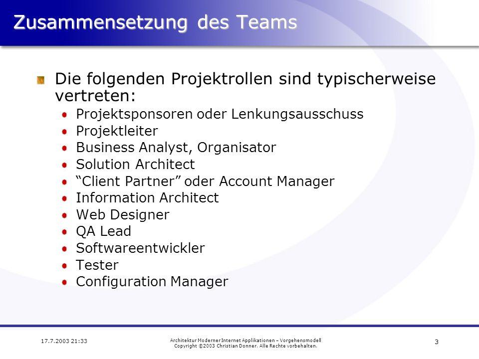 Zusammensetzung des Teams