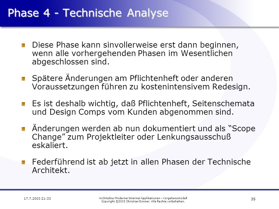 Phase 4 - Technische Analyse