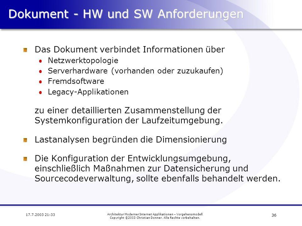 Dokument - HW und SW Anforderungen