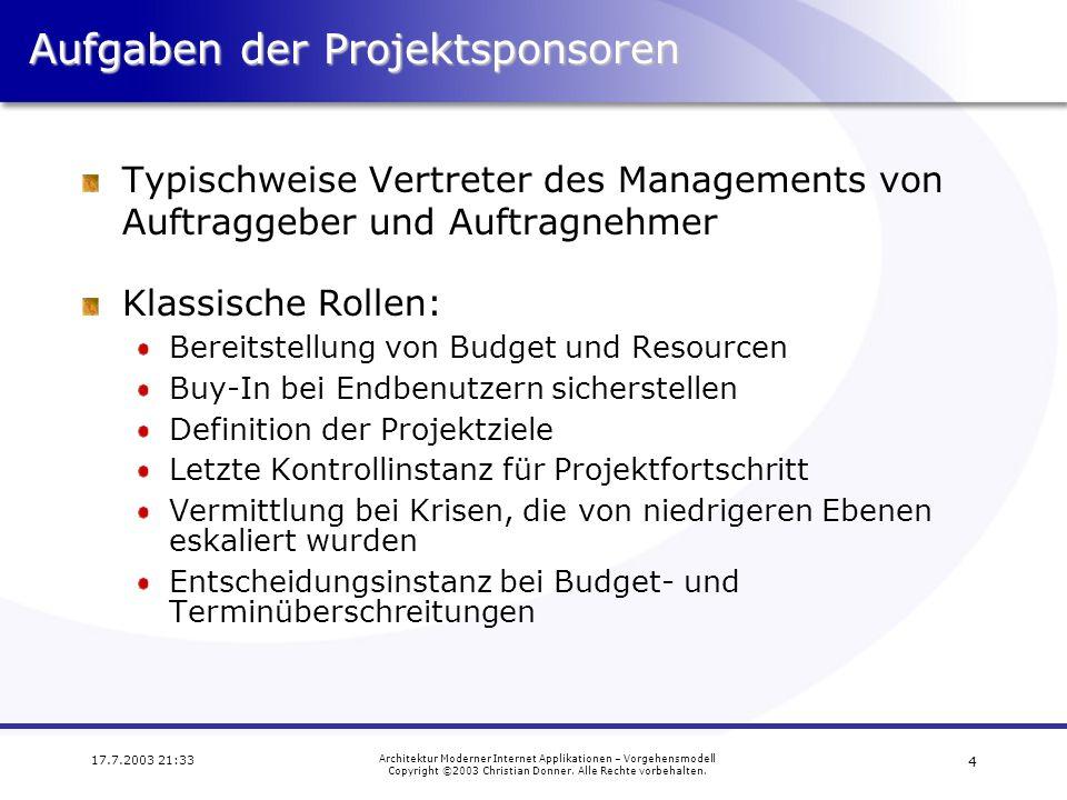 Aufgaben der Projektsponsoren