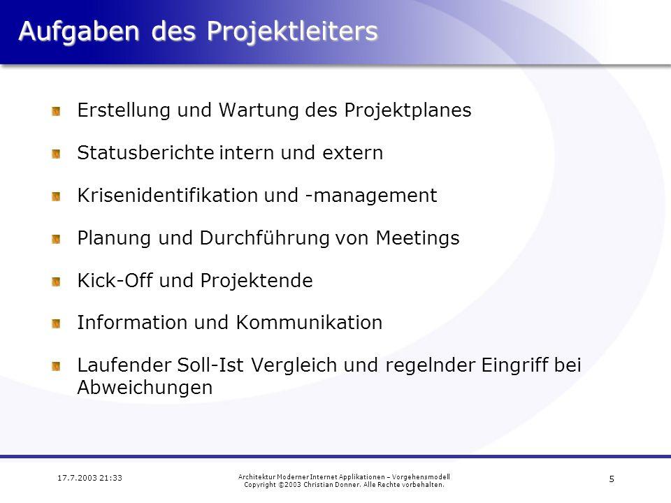 Aufgaben des Projektleiters