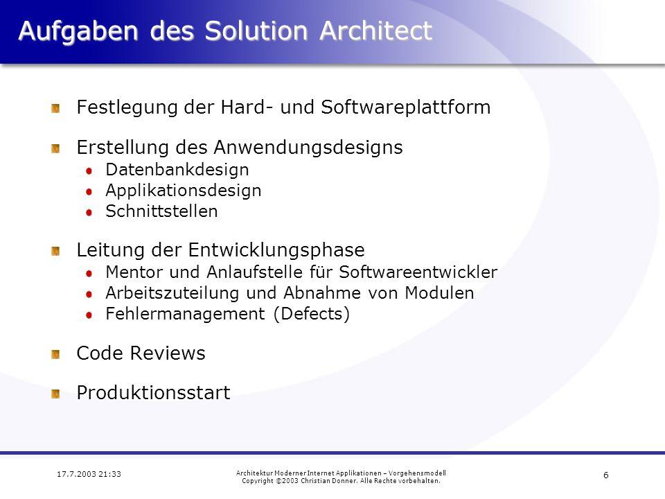 Aufgaben des Solution Architect