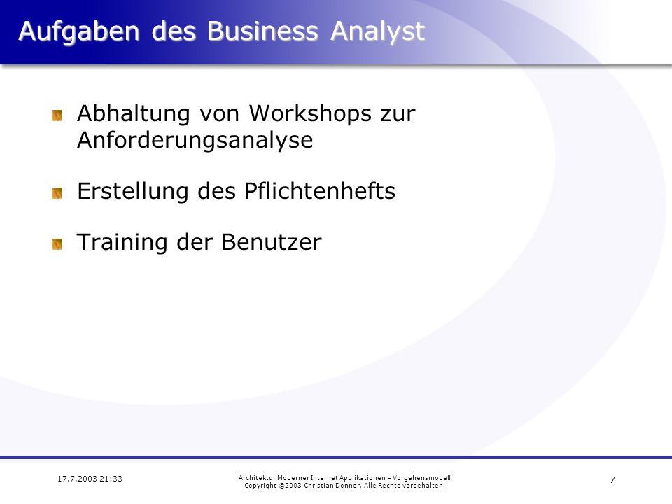 Aufgaben des Business Analyst